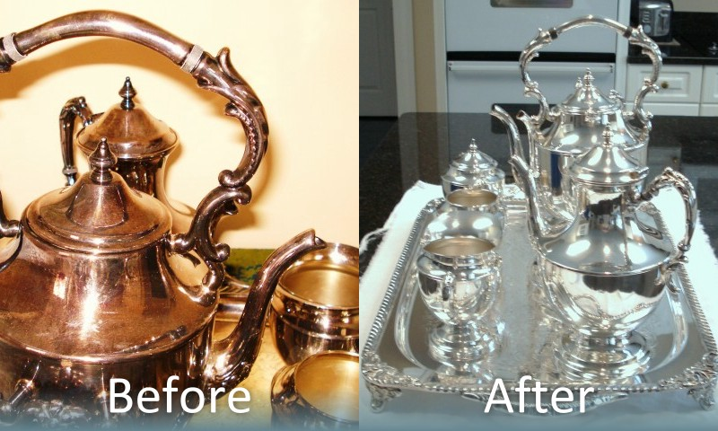 Before and After Silver Polishing